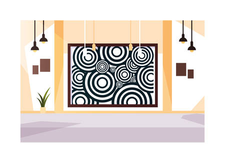 exhibition hall , art gallery on white background vector illustration design