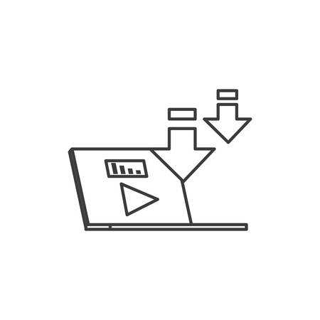 laptop computer with media player technology vector illustration design