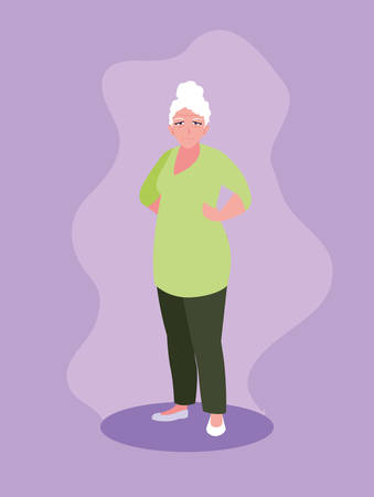 old woman with hands on waist vector illustration design Фото со стока - 136049963