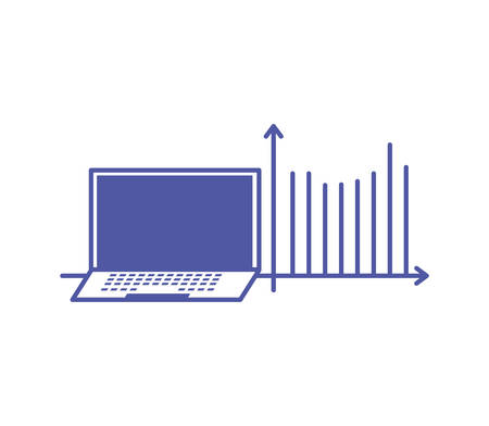 statistical graphics infographic with laptop computer device vector illustration design  イラスト・ベクター素材