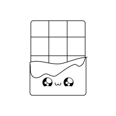 delicious chocolate bar kawaii style vector illustration design