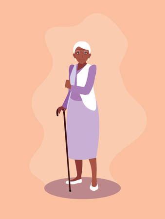 old woman afro with cane vector illustration design