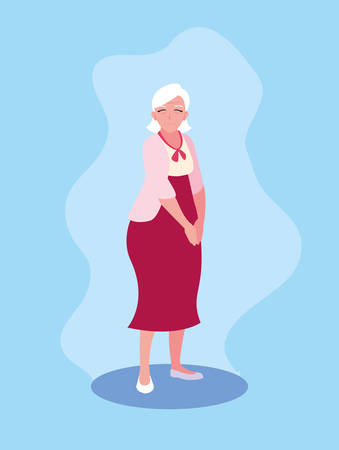 cute old woman avatar character vector illustration design
