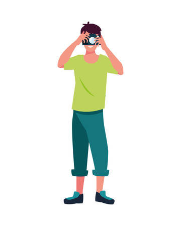 Man with camera design, Device gadget technology photography equipment digital and photo theme Vector illustration