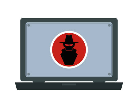 laptop with hacker attack vector illustration design