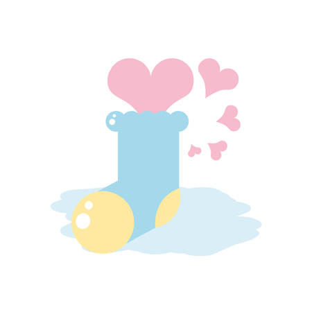 cute sock baby with hearts love vector illustration design