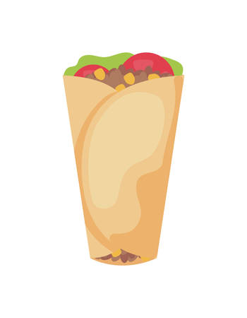 delicious burrito , typical Mexican food vector illustration design