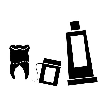 dental floss with toothpaste and tooth vector illustration design