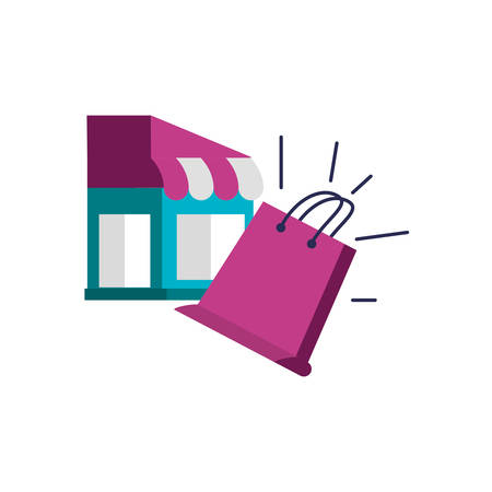store facade with shopping bag vector illustration design
