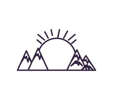 sun with mountains scene nature vector illustration design 일러스트