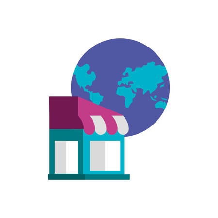 store building with planet earth vector illustration design