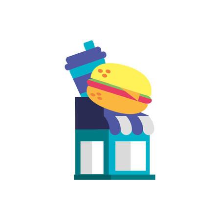 facade of store fast food vector illustration design