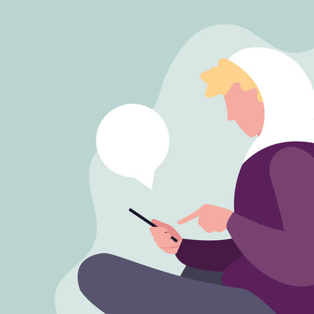 young man sitting using smartphone with speech bubble vector illustration design