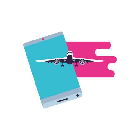 smartphone with airplane flight app vector illustration design