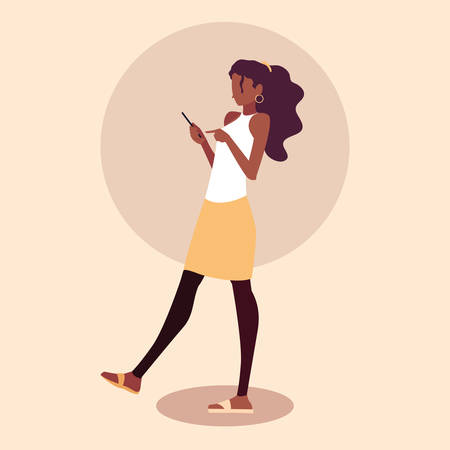 young woman afro using smartphone device vector illustration design