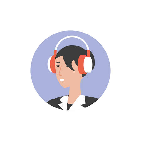 cute young woman with earphones vector illustration design
