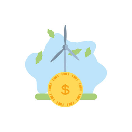 windmill air power with coin money vector illustration design