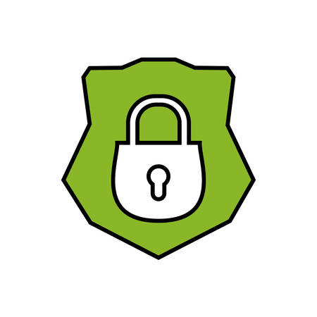 shield with safe secure padlock vector illustration design Vectores