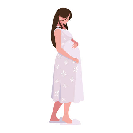 Pregnant woman design, Mother family love pregnancy maternity expecting and motherhood theme Vector illustration