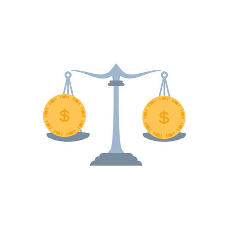 justice balance with coins money vector illustration design