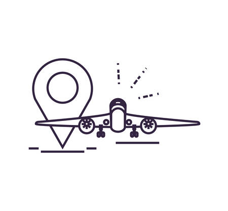 airplane flying with pin location vector illustration design