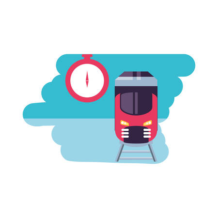 compass guide device with train vector illustration design