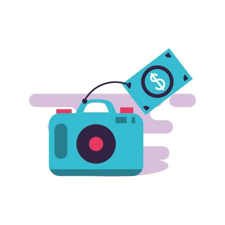 camera photographic digital with bills dollars vector illustration design