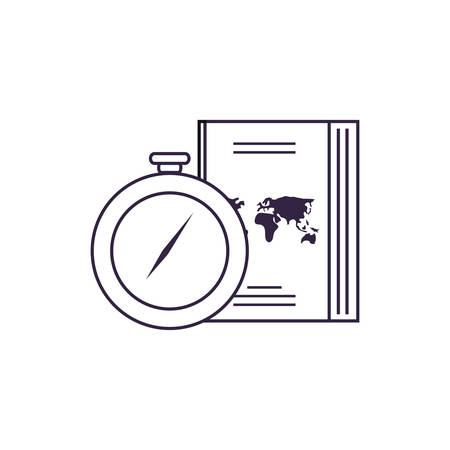 compass guide device with passport vector illustration design