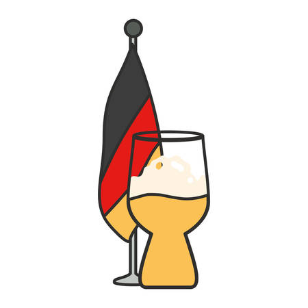 glass of beer with germany flag in pole oktoberfest vector illustration design