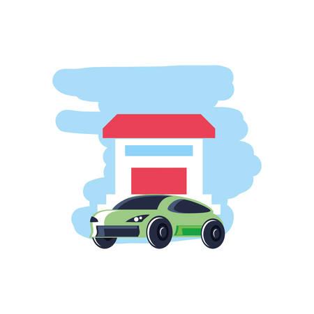 house facade building with car sedan transportation vector illustration design