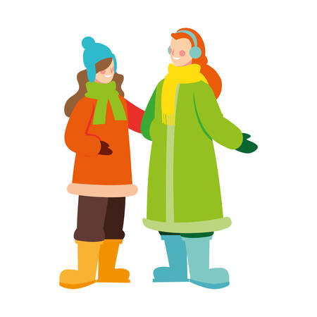 women standing with winter clothes on white background vector illustration design