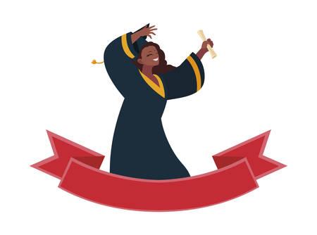 afro woman student graduated celebrating with ribbon frame illustration