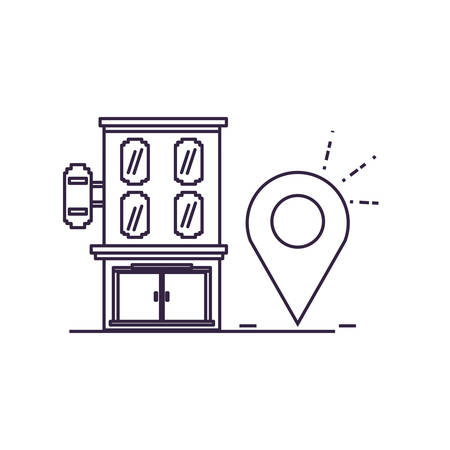 building place with pin pointer illustration design