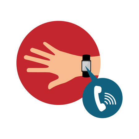 hand with smart watch technology vector illustration design