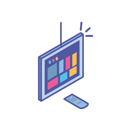 tv screen and and remote control in white background vector illustration design Vektorové ilustrace