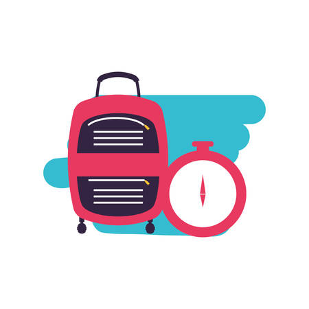 compass guide device with suitcase vector illustration design Illustration