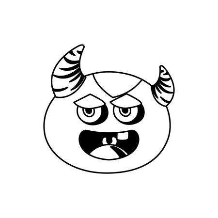 funny monster with horns comic character vector illustration design