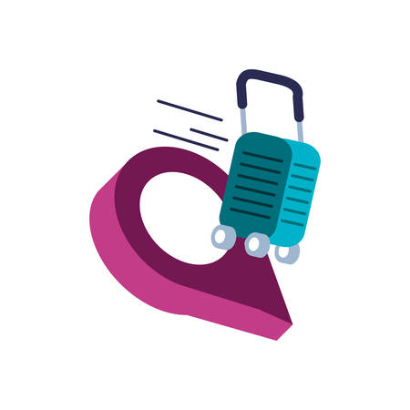 suitcase with wheels and pin location vector illustration design