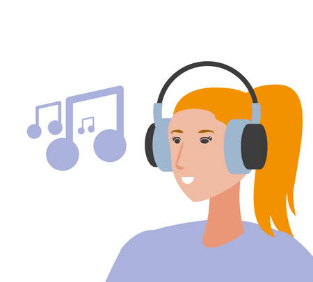 cute young woman with earphones and music note vector illustration design