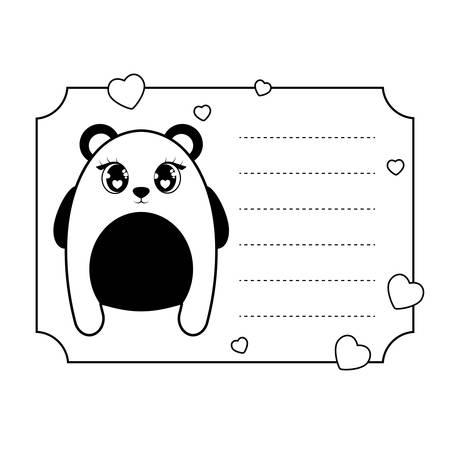 panda bear baby animal in card kawaii style vector illustration design