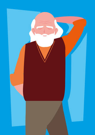 old man with beard avatar character vector illustration design