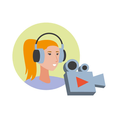 cute young woman with earphones and video camera vector illustration design