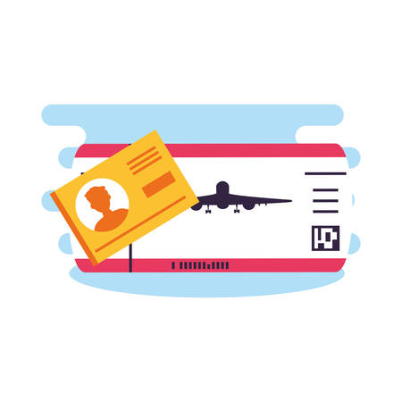ticket flight and document id icons vector illustration design