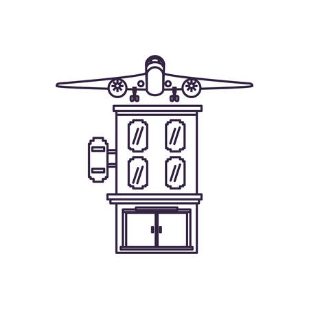 hotel building place with airplane flying vector illustration design
