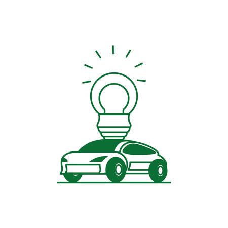 saving bulb electric with car sedan transportation vector illustration design