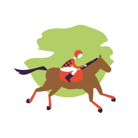horse with jockey racecourse icon vector illustration design 免版税图像 - 136271552