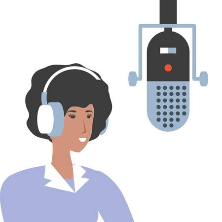 cute young woman with earphones and microphone vector illustration design Ilustração