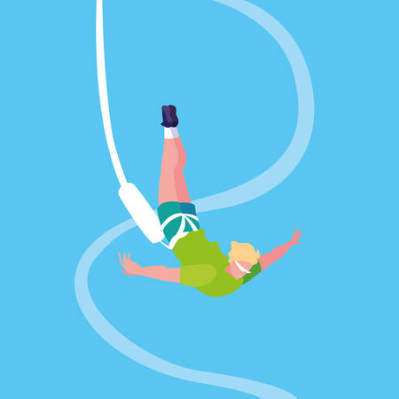 man practicing bungee jumping sport extreme vector illustration design