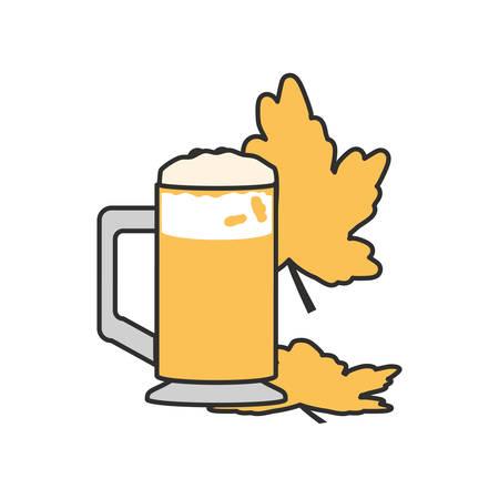 jar of beer with leafs oktoberfest vector illustration design