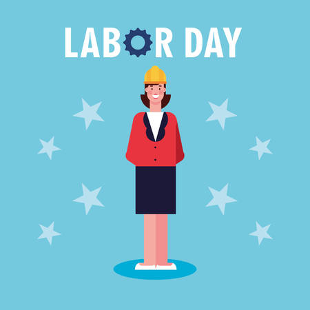 labor day label with businesswoman vector illustration design